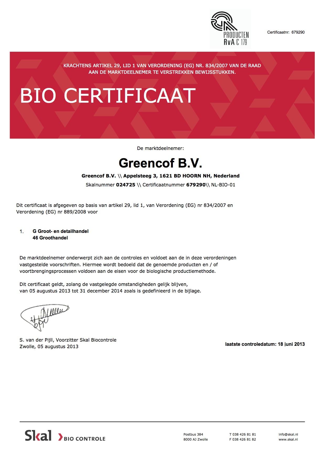 Organic Certificate Greencof
